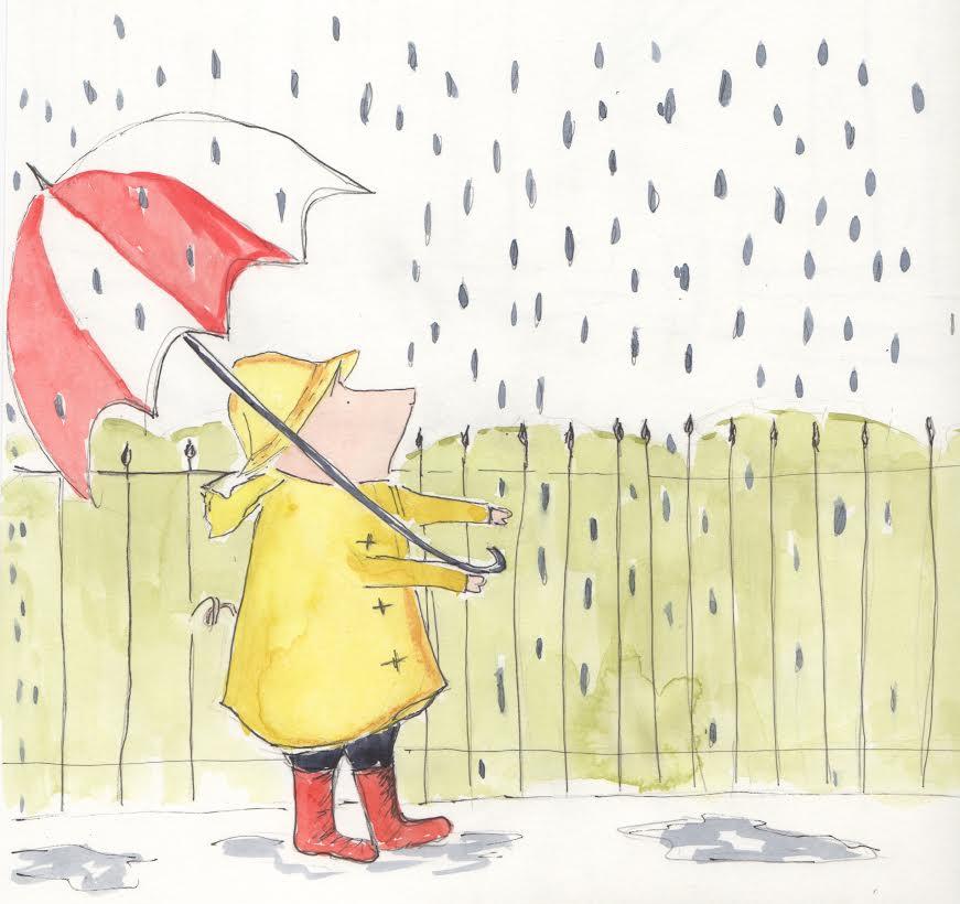 henri in the rain